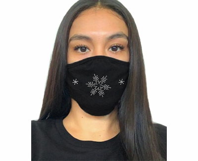 Snow Flakes Rhinestone Bling 2-Ply Face Masks in Choice of 3 Colors