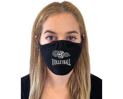 Spiral Volleyball & Net Design 2-Ply Face Masks in Choice of 2 Colors