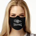 Spiral Volleyball & Net Design 1-Ply Jersey Face Mask in 10 Color Options