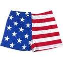 "Stars & Stripes USA Flag 2.5"" inseam Spandex Shorts"