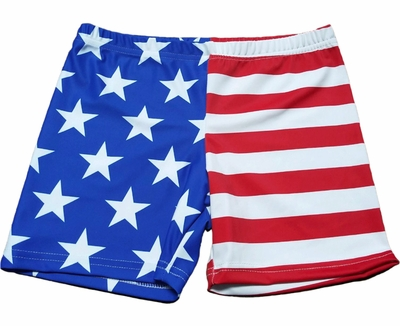 "Stars & Stripes USA Flag 4"" inseam Spandex Shorts"