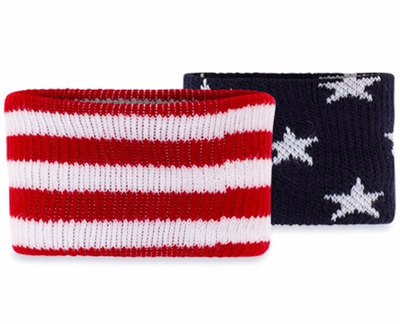 Stars & Stripes USA Flag Mismatch Terry Cloth Wristbands