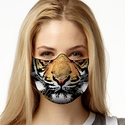 Tiger Face Design 1-Ply Jersey Face Mask in 10 Color Options
