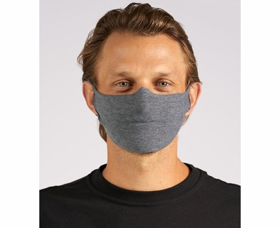 Tultex 1-Ply Simple Face Mask in Dark Heather Grey