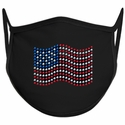 USA Flag Design Bling Rhinestone Face Mask - 6 Color Options