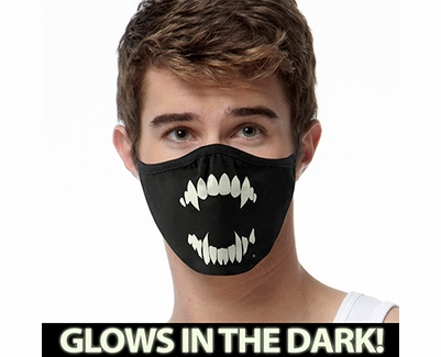 Vampire Teeth Glow In The Dark 2-Ply Face Mask - 3 Color Options