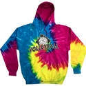 Volleyball Brush Design Tie Dye Hooded Sweatshirt - in 6 Hoodie Colors