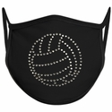 Volleyball Design Bling Rhinestone Face Mask - 6 Color Options