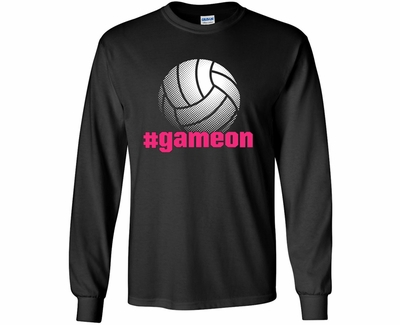 Volleyball # Game On Design Black Long Sleeve Shirt