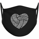 Volleyball Heart Design Bling Rhinestone Face Mask - 6 Color Options