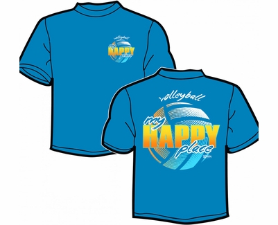 Volleyball My Happy Place Design Blue T-Shirt