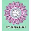 Volleyball Shirt - My Happy Place Floral Design Short Sleeve Tee