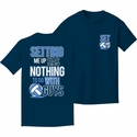 Volleyball Shirt - Setting Me Up...With Guys Navy Blue Short Sleeve