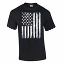 Volleyball USA Flag Design Black T-Shirt