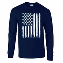 Volleyball USA Flag Design Navy Blue Long Sleeve Shirt