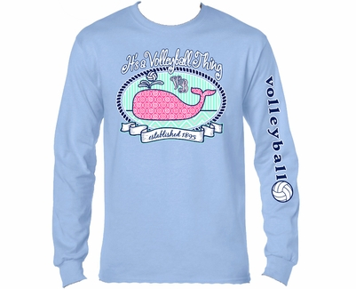 Volleyball Whale Design Light Blue Long Sleeve Shirt