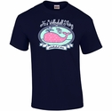 Volleyball Whale Design Navy Blue T-Shirt