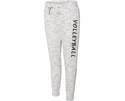 White Heather Ladies Fleece Jogger Pants w/ Volleyball Printed on Leg