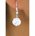 White Mini Volleyball Fishhook Earrings