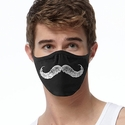 White Mustache Design 2-Ply Face Masks in Choice of 2 Colors