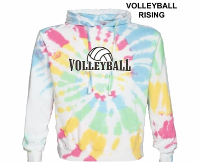 White & Rainbow Colors Tie-Dye Hoodie - Choice of 10 Volleyball Designs