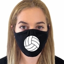 White Volleyball Design 2-Ply & 3-Ply Face Masks in 6 Color Options