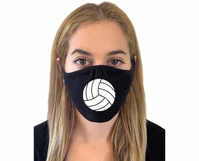 White Volleyball Design 2-Ply Face Masks in Choice of 2 Colors