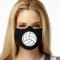 White Volleyball Design 1-Ply Jersey Face Mask in 10 Color Options
