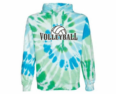 White w/ Blues & Greens Tie-Dye Volleyball Rising Design Hoodie