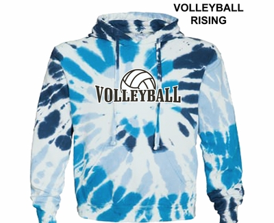 White & Blues Tie-Dye Hoodie - Choice of 10 Volleyball Designs
