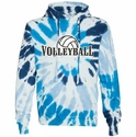 White w/ Light & Dark Blues Tie-Dye Volleyball Rising Design Hoodie