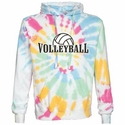 White w/ Rainbow Colors Tie-Dye Volleyball Rising Design Hoodie