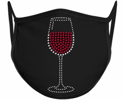 Wine Glass Design Bling Rhinestone Face Mask - 6 Color Options