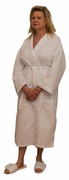 "48"" Length Cotton Waffle Unisex Robe, White"