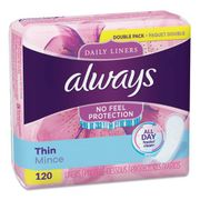 Always Thin Daily Panty Liners, Regular, 120/Pack