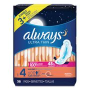 Always Ultra Thin Overnight Pads with Wings, 38/Pack