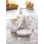 Bath Accessory Set Marble Printed Pattern
