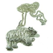 Bear Pendant with Chain Sterling Silver