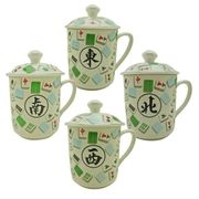 Bone China Mah Jong Mug Set w/Lid (Set of 4)