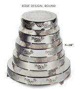 "Cake Plateau Silverplated 16"" Round  Rose Design"