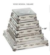 "Cake Plateau Silverplated 16"" Square  Rose Design"