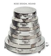 "Cake Plateau Silverplated 22"" Round  Rose Design"