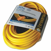 CCI Coleman Cable Polar/Solar Outdoor Extension Cord, 50ft, Three-Outlets, Yellow