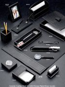 Complete Croco-Grained Leather Desk Set BLACK ONLY