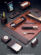 Complete Croco-Grained Leather Desk Set