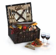 Picnic Plus Copley Walnut Stained Woven Willow 2 Person Picnic Basket