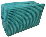 Cotton Waffle Cosmetic Bag Large  Caribbean Green
