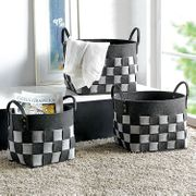 Crosshatch Checkerboard Pattern Decor Round Felt Tote Basket Set of 3