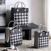 Crosshatch Diamond Pattern Decor Tote Bag Set of 3