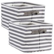 DII Herringbone Woven Cotton  Laundry Bin Gray Sriped Rectangular Medium 14 x 9 x 8 SET/2
